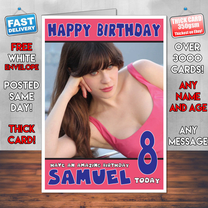 Personalised Zooey Deschanel 4 Celebrity Inspired Style Birthday Card (SA)