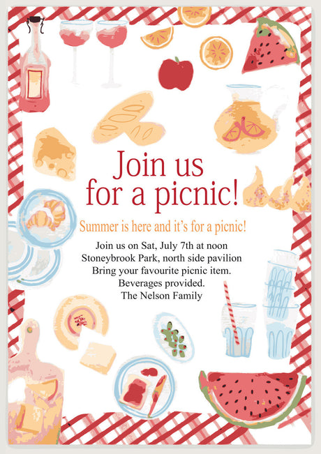 10 X Personalised Printed Picnic INSPIRED STYLE Invites