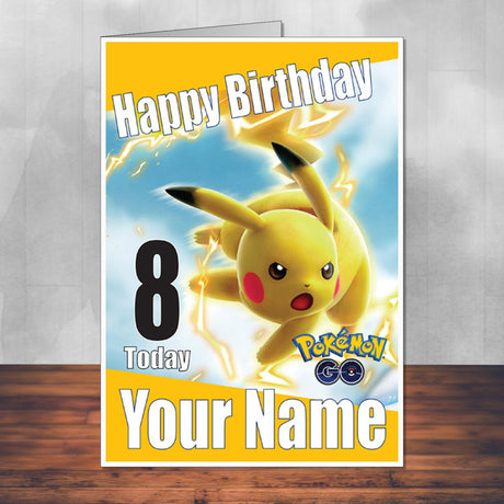 Pikachu Electric Yellow Pokemon Go THEME INSPIRED Kids Adult Personalised Birthday Card Birthday Card