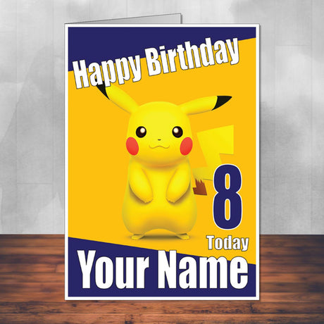 Pikachu Name 2 Pokemon Go THEME INSPIRED Kids Adult Personalised Birthday Card Birthday Card