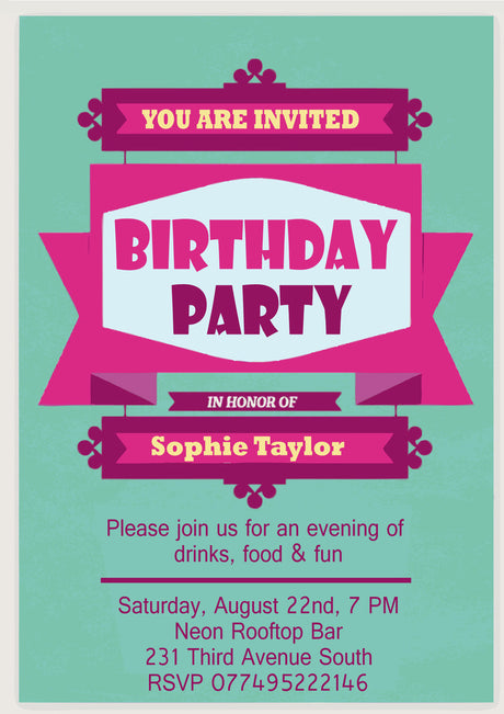 10 X Personalised Printed Pink Birthday Party INSPIRED STYLE Invites