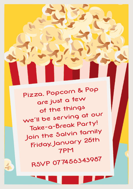 10 X Personalised Printed Pizza Popcorn Pop Party INSPIRED STYLE Invites
