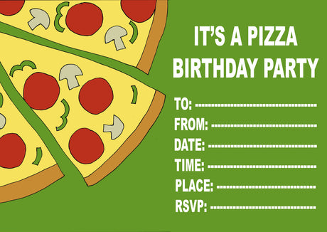 10 X Personalised Printed Pizza Party INSPIRED STYLE Invites