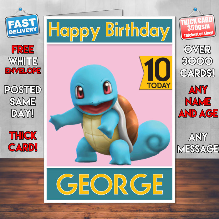 Pokemon 20 Inspired Theme Personalised Kids Inspired Birthday Card