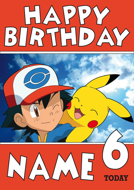 THEME INSPIRED Kids Adult Personalised Birthday Card Pokemon Card Birthday Card