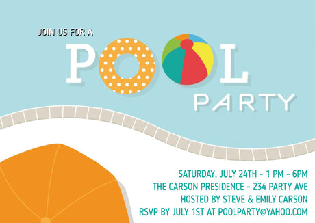 10 X Personalised Printed Pool Party INSPIRED STYLE Invites