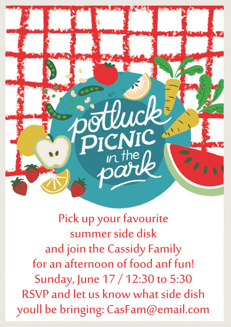 10 X Personalised Printed Potluck Picnick In The Park INSPIRED STYLE Invites