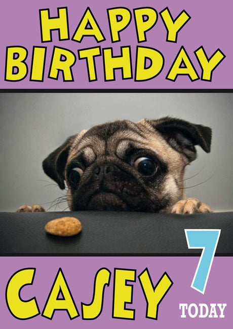 Pug Cookie Funny Kids Adult Personalised Birthday Card