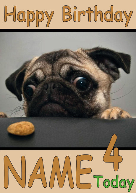 Pug With Cookie Funny Kids Adult Personalised Birthday Card Gift Present
