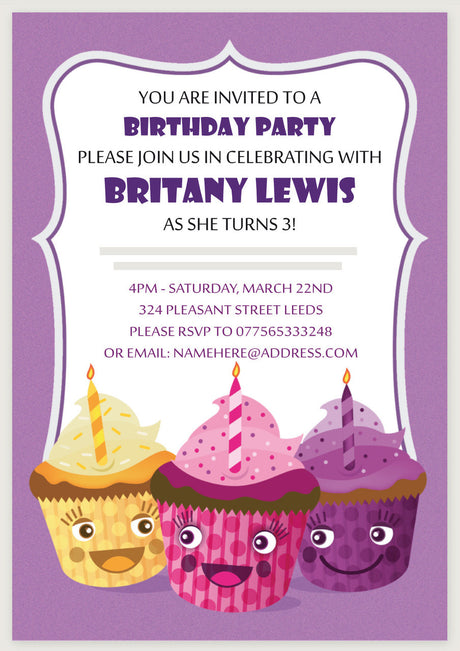 10 X Personalised Printed Purple Cupcakes Party INSPIRED STYLE Invites
