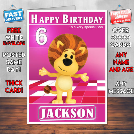 Raa Raa The Noisy Lion 1 Style Theme Personalised Kidshows Birthday Card (SA)