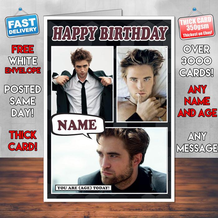 Robert Pattinson Personalised Celebrity Birthday Card New 2017