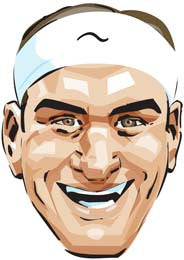 Roger Federer Cartoon  TENNIS Celebrity Face Mask FANCY DRESS HEN BIRTHDAY PARTY FUN STAG DO HEN