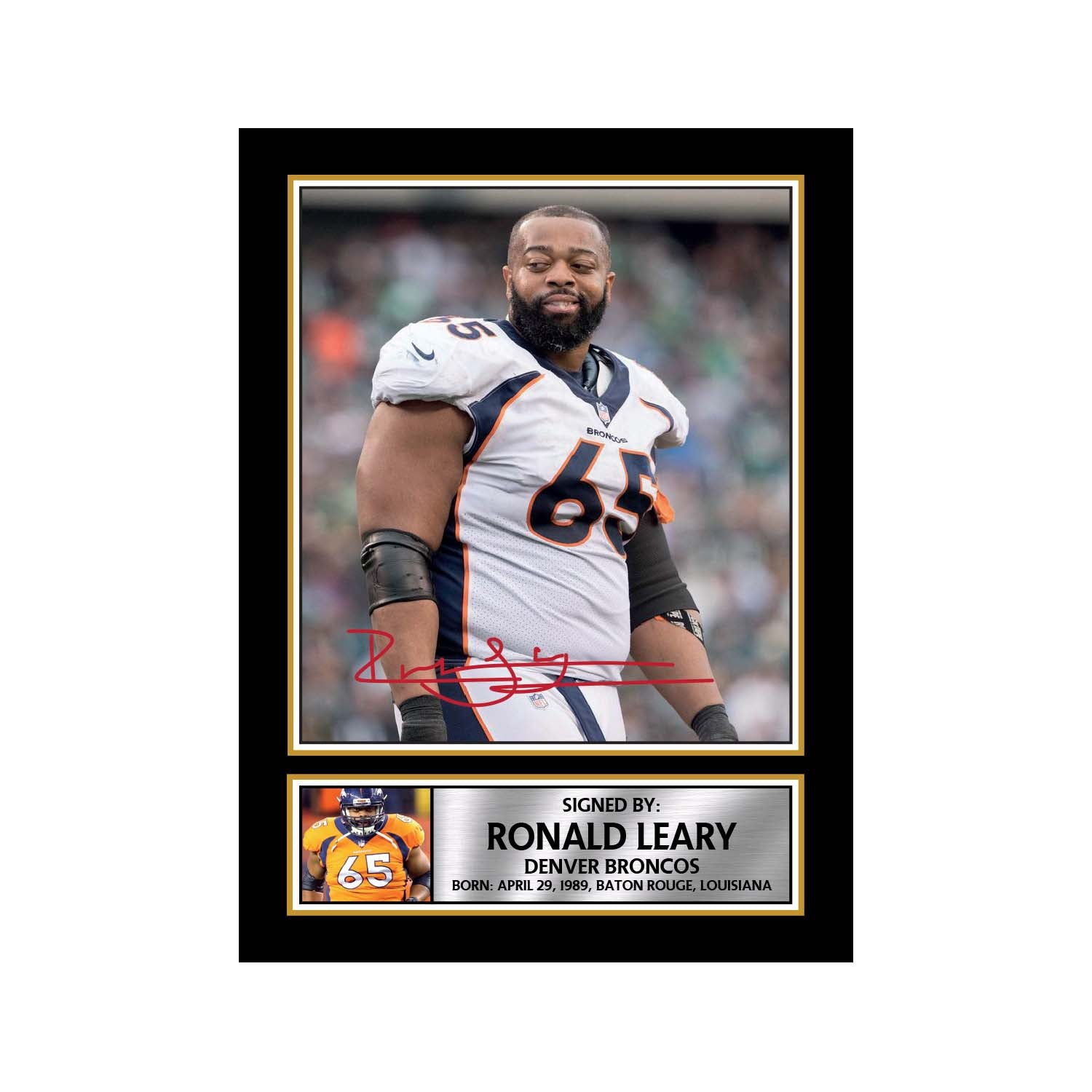 premium selection e84f6 61456 Ronald Leary Limited Edition Football Signed Print ...