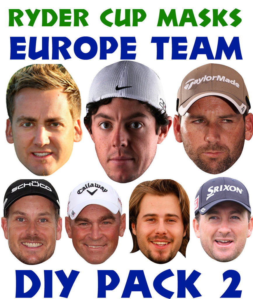 Ryder Cup Team Celebrity Face Mask FANCY DRESS HEN BIRTHDAY PARTY FUN STAG DO Hens Pack 2