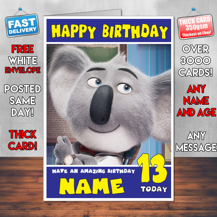 Sing Buster Moon Sj Theme Inspired Style Personalised Kids Adult Funny Birthday Card