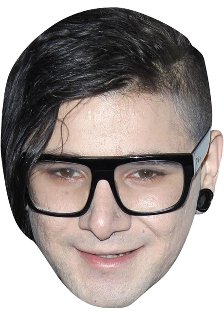 SKRILLEX JB - Music Star Fancy Dress Cardboard Celebrity Party Stag Birthday Idea Fancy Dress Face mask