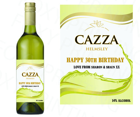 PERSONALISED White Wine Bottle Label Valentine Birthday Wedding Graduation Gift
