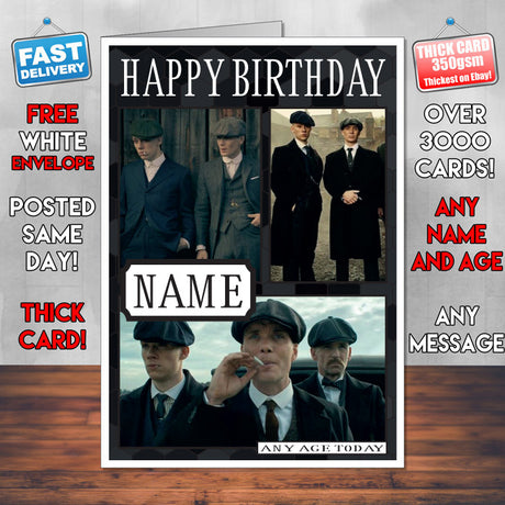 Shelby Brothers Design 2 Personalised Peaky Blinders INSPIRED Birthday Card New 2017