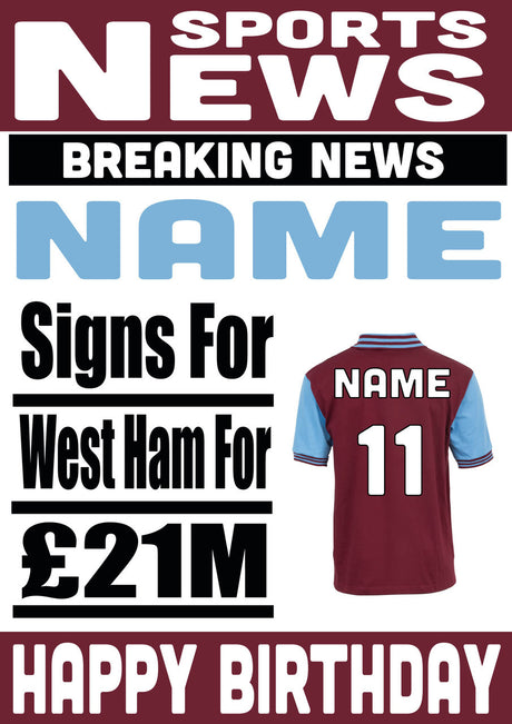 Signed For West Ham FOOTBALL TEAM THEME INSPIRED PERSONALISED Kids Adult Birthday Card