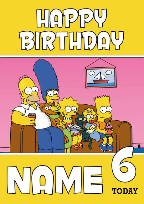 THEME INSPIRED Kids Adult Personalised Birthday Card Simpsons Birthday Card