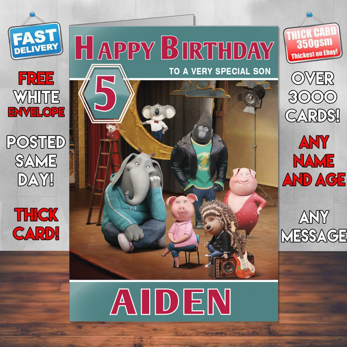 Sing Animation 2016 Theme Style Personalised Kids Inspired Movie Birthday Card Sa