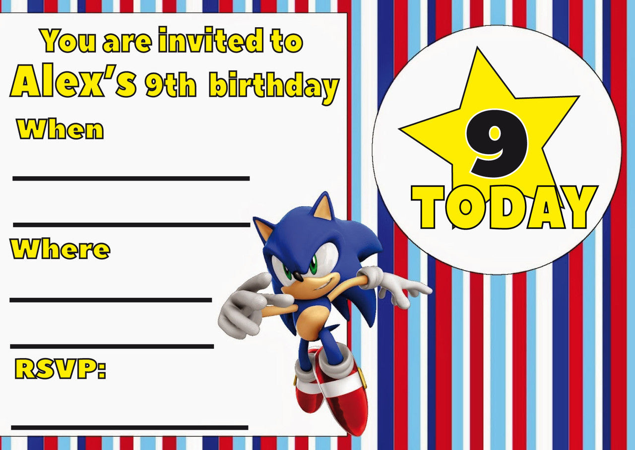 10 X Personalised Printed Boys Sonic The Hedgehog INSPIRED STYLE Invites