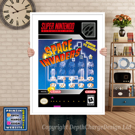 Space Invaders Super Nintendo GAME INSPIRED THEME Retro Gaming Poster A4 A3 A2 Or A1
