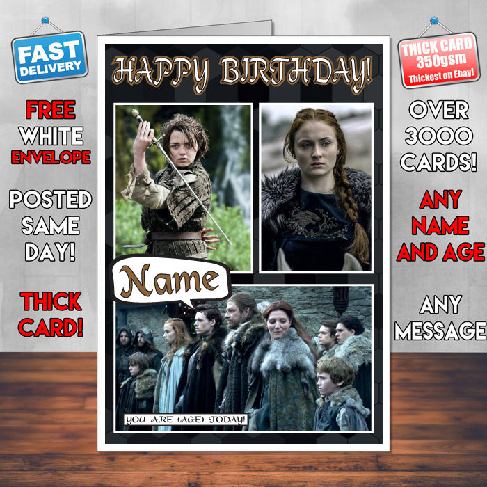 Stark Family Personalised Inspired Style Game Of Thrones Birthday