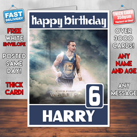 Stephen Curry Basketball Theme Inspired Kids Inspired Adult Personalised Sports Birthday Card (SA)