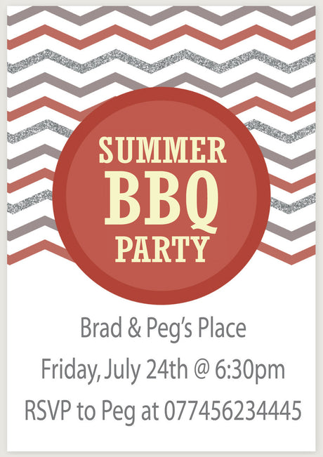 10 X Personalised Printed Summer BBQ Party INSPIRED STYLE Invites