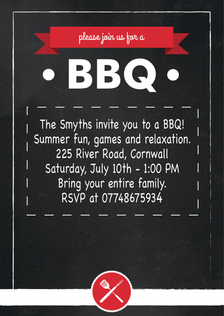 10 X Personalised Printed Summer BBQ INSPIRED STYLE Invites