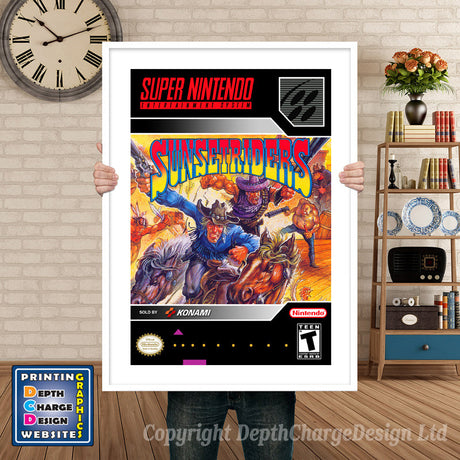Sunset Riders Super Nintendo GAME INSPIRED THEME Retro Gaming Poster A4 A3 A2 Or A1