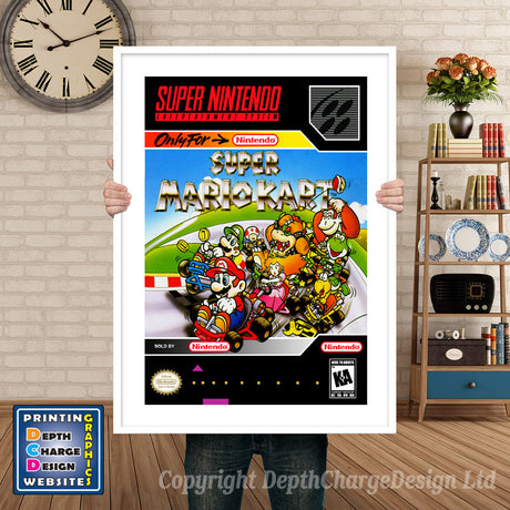 Super Mario Kart Super Nintendo GAME INSPIRED THEME Retro Gaming Poster A4 A3 A2 Or A1