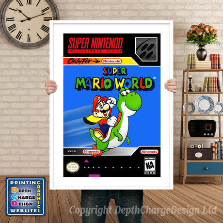 Super Mario World Super Nintendo GAME INSPIRED THEME Retro Gaming Poster A4 A3 A2 Or A1