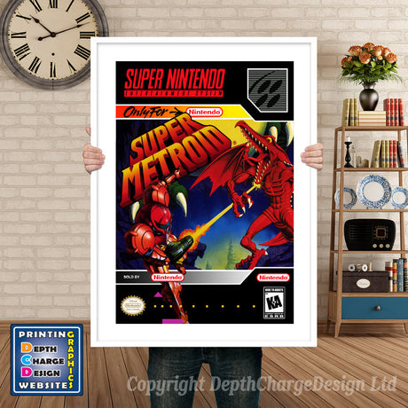 Super Metroid Super Nintendo GAME INSPIRED THEME Retro Gaming Poster A4 A3 A2 Or A1
