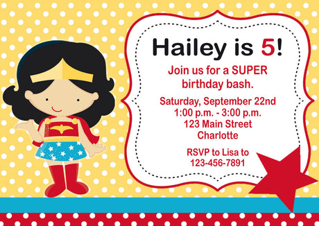 10 x personalised printed girls super girl inspired style invites