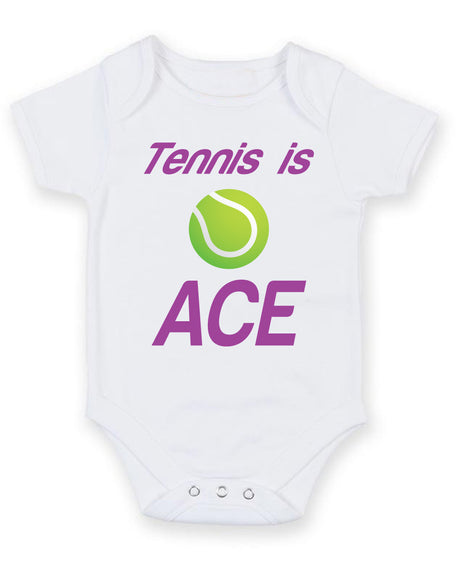 Tennis is Ace Printed Baby Grow Bodysuit Boy Girl Unisex Gift