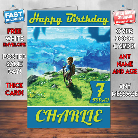 The Legend Of Zelda Breath Of The Wild 3 Inspired Style Game Kids Inspired Birthday Card (SA)