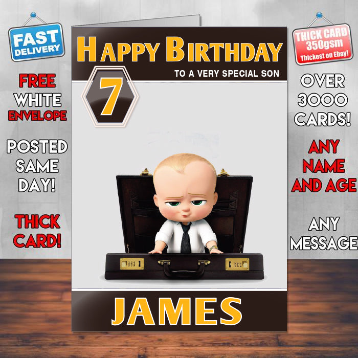 The Boss Baby 2017 Theme Style Personalised Kids Inspired Movie Birthday Card Sa
