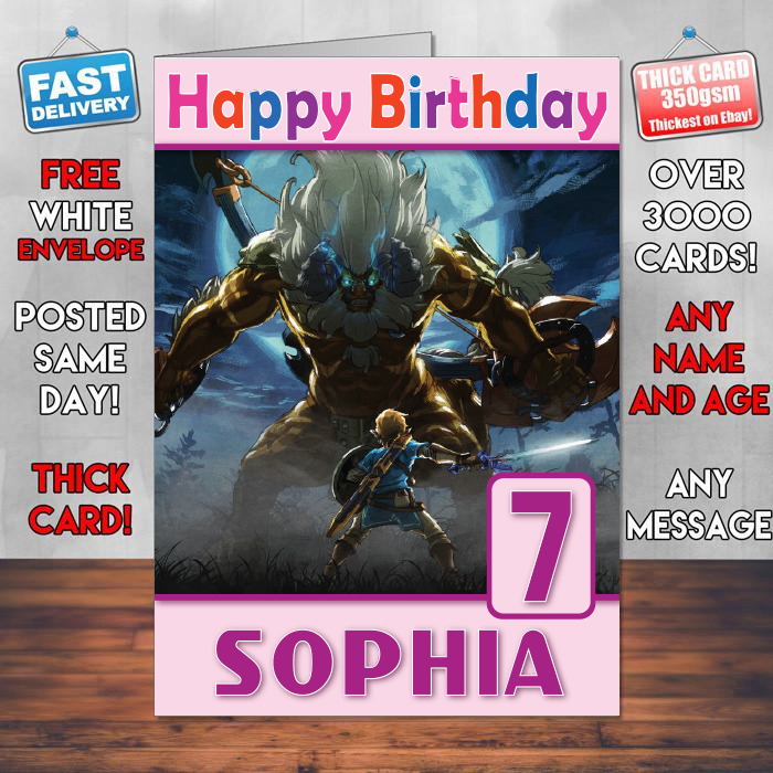 Personalised The Legend Of Zelda Breath Wild Inspired Style Game Kids Birthday Card