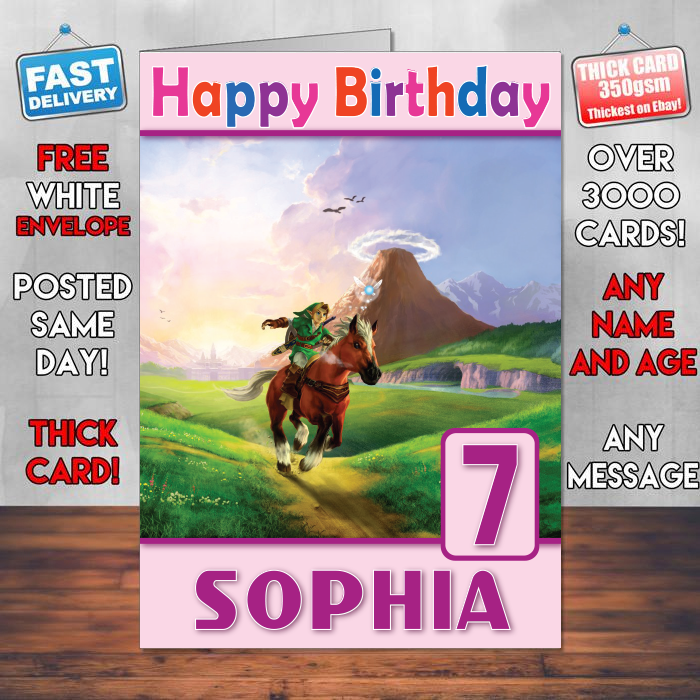 Personalised The Legend Of Zelda Ocarina Time Inspired Style Game Kids Birthday Card SA