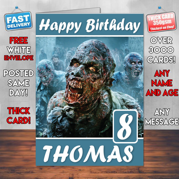 The Walking Dead Zombies Scary Theme Style Personalised Kids