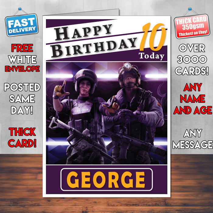 Personalised Tom Clancys Rainbow Six Siege 1 Inspired Style Game Kids  Inspired Birthday Card (SA)