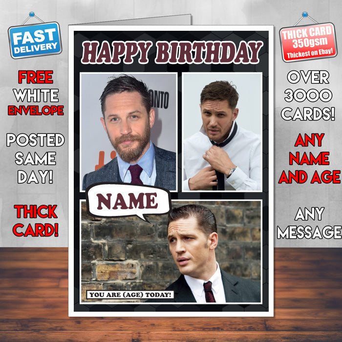 Tom Hardy Personalised Celebrity Birthday Card New 2017