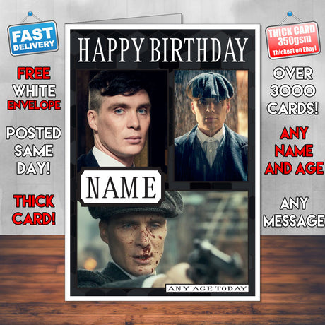 Tommy Shelby Personalised Peaky Blinders INSPIRED Birthday Card New 2017