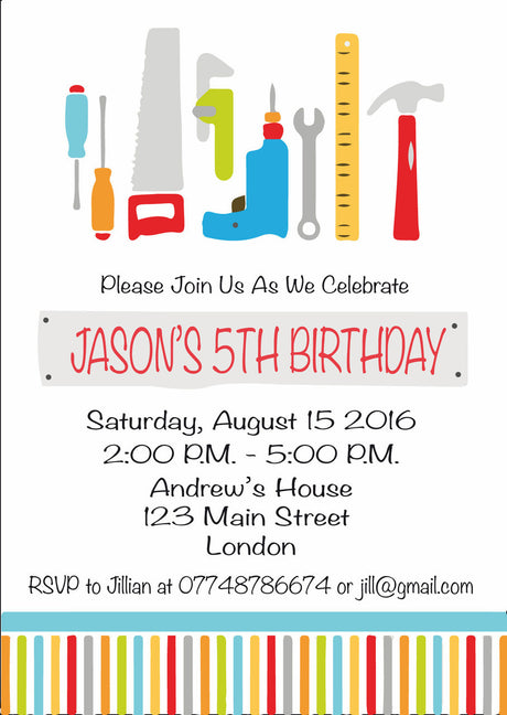10 X Personalised Printed Tools Birthday INSPIRED STYLE Invites