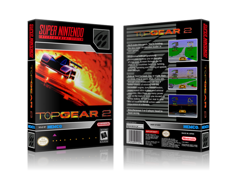 Top Gear 3000 Replacement Nintendo SNES Game Case Or Cover