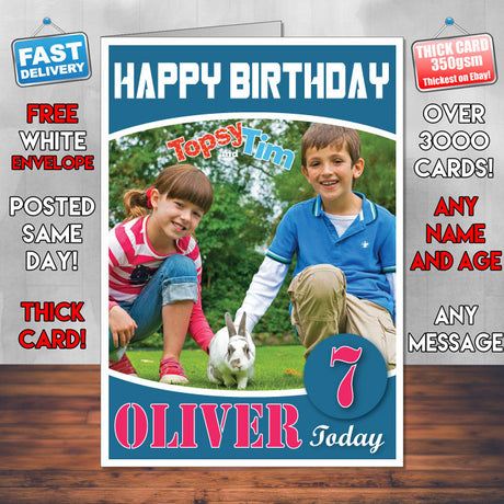 Topsy And Tim 2 Style Theme Personalised Kidshows Birthday Card (SA)