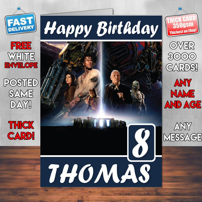 Transformers The Last Knight Hd Theme Style Personalised Kids Inspired Movie Birthday Card SA